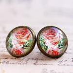 red rose earrings, red rose stud earrings, red flower earrings, vintage style earrings