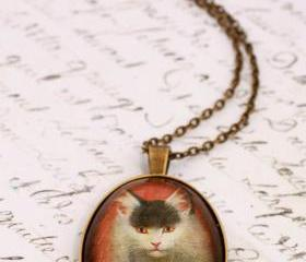 Glass cat necklace, cat portrait necklace, cat pendant necklace, glass art pendant
