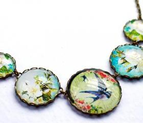 Glass bird necklace, glass dome necklace, glass bird necklace, swallow necklace, blue rose necklace, colorful necklace, blue and green