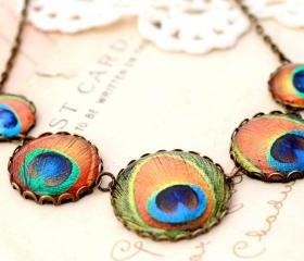 Jewel tone peacock feather Necklace, Boho necklace, Victorian necklace, colorful statement necklace, link necklace
