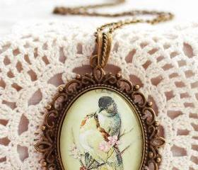 Love bird necklace, romantic necklace, glass bird necklace, birds and flowers, cherry blossom