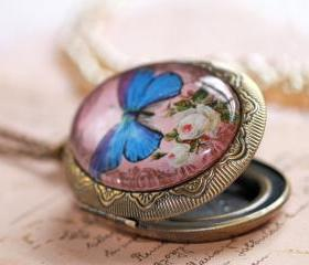 Butterfly photo locket, butterfly pendant, picture locket, Victorian pendant, pink and blue necklace, romantic locket