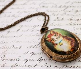 Cat photo locket, cat portrait pendant, glass photo locket, glass picture locket, cat locket, cat photo locket