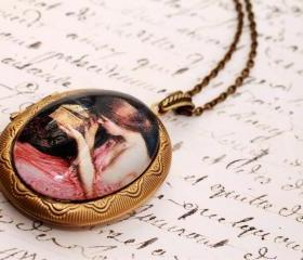 Pre raphaelite photo locket necklace, bronze picture locket, large oval locket pendant, romantic jewelry