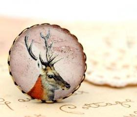 Doe deer ring, deer cameo ring, deer portrait ring, woodland jewelry, deer jewelry