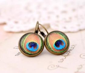 Jewel tone peacock drop earrings, peacock dangle earrings, colorful earrings, boho jewelry