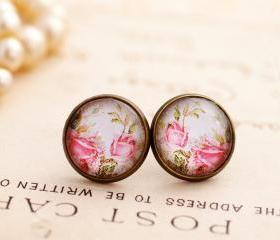 Pink rose earrings, pink floral earrings, pale pink earrings, shabby chic earrings, pink rose studs, flower earrings, pale pink earrings