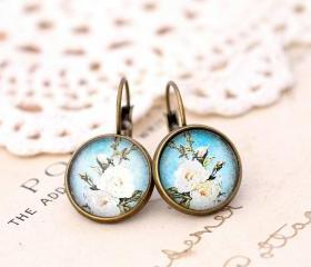 ivory rose earrings, blue floral earrings, flower drop earrings, glass flower earrings, romantic jewelry, spring jewelry