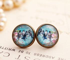 Blue bird earrings, swallow earrings, picture earrings, pink floral earrings, romantic jewelry