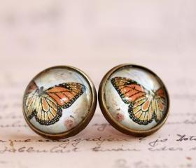 Glass butterfly earrings, butterfly post earrings, butterfly studs, glass studs, glass post earrings