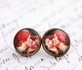 Preraphaelite earrings, glass dome earrings, fine art earrings, wearable art, Soul of the rose, John W Waterhouse