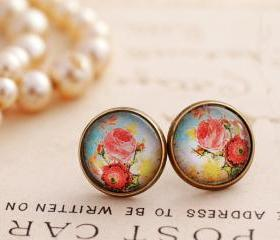 Blue floral earrings, Victorian rose earrings, rose stud earrings