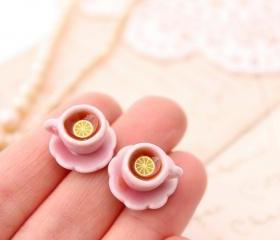 Miniature teacup studs, pink teacup earrings, Alice in Wonderland jewellery, miniature food jewelry
