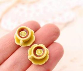 Miniature teacup stud earrings, yellow teacup earrings, Alice in Wonderland stud earrings, miniature food jewelry