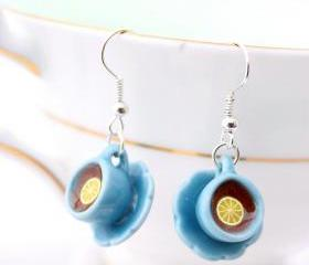 Blue teacup earrings, tiny teacup earrings, Alice in Wonderland jewelry, miniature food jewelry, fairy earrings