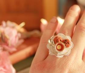 Teacup ring, tea cup ring, miniature food ring, mini food ring, Kawaii ring, Kawaii mini food ring, Alice in Wonderland ring