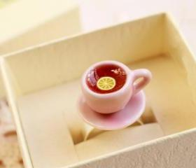 Pink Teacup ring, tea cup ring, miniature food ring, kawaii food ring, Alice in Wonderland