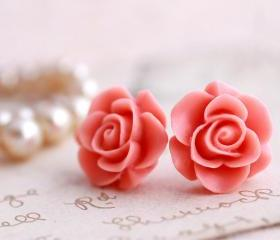 Pink Rose earrings, rose stud earrings, flower earrings, pink earrings, rose jewelry