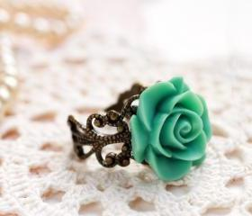 Mint green rose ring, teal rose ring, resin rose ring, resin flower ring, rose cabochon ring