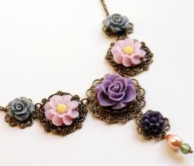 Resin rose necklace, pink rose necklace, resin flower necklace, pink and purple necklace, rococo statement necklace, rose cabochon necklace