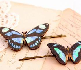 Blue butterfly hair clips, butterfly hair pin, woodland wedding, butterfly jewelry, bridesmaid hair clip