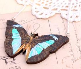 Blue butterfly necklace, blue butterfly pendant, mint necklace, unusual jewelry, insect necklace, entomology jewelry