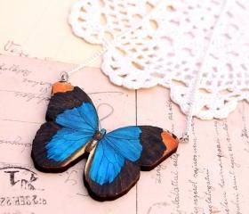 Blue morpho butterfly necklace, royal blue charm necklace, insect necklace, woodland necklace,entomology jewelry