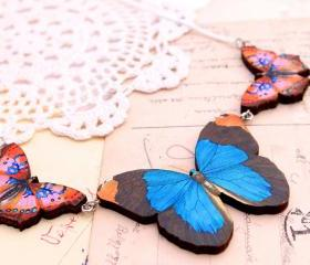 Blue butterfly necklace, jewel tone butterfly charm necklace, nature jewelry, whimsical jewelry, statement necklace