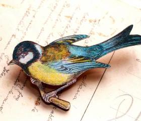 Blue bird brooch, blue tit brooch, bird jewelry, woodland bird, woodland creature, nature jewelry, gift for gardener, gift for mum