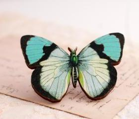 Blue Butterfly Brooch, wooden butterfly brooch, butterfly jewelry, statement jewelry