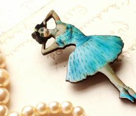 Blue Ballerina brooch, ballet brooch, dancer jewelry, tiffany blue, laser cut wood,