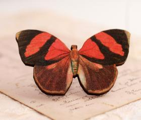 Red Butterfly Brooch, wooden butterfly brooch, butterfly jewelry, gift for nature lover, victorian butterfly brooch