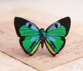 Blue Butterfly Brooch, nature brooch, colorful jewelry, butterfly jewellery, gift for nature lover