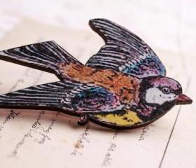 Wooden goldfinch bird brooch, handmade nature brooch,bird jewelry, wooden jewelry gift for nature lover