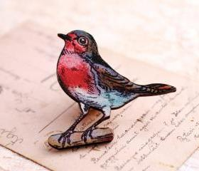 Wooden Robin Brooch, robin redbreast brooch, wooden bird brooch, gift for mum
