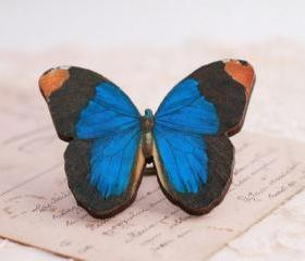 Big Blue butterfly ring, wooden butterfly jewelry, statement ring, royal blue, nature lover