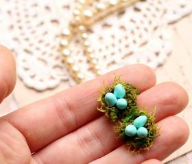 Birds nest earrings, robins egg blue, birds egg earrings, nature jewelry, blue and green