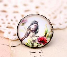 Glass bird brooch, woodland jewelry, bird jewelry, woodland brooch, vintage style brooch, gift for nature lover