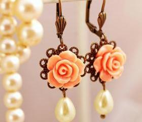 Peach rose and pearl earrings, rose bridal earrings, pastel earrings, romantic pearl earrings, floral dangle earrings